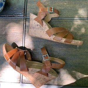boc Shoes - NWT BOC Apple Wedge Sandals Cognac | Size 10